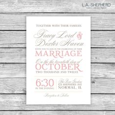 Script Wedding Invitation  Custom Printable PDF by LAShepherd, $20.00