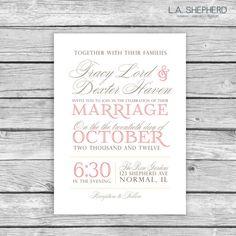 Printable Custom Wedding Invitation by LAShepherd on Etsy, $20.00
