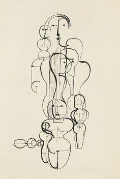 Oskar Schlemmer, Konzentrische gruppe, figurenplan K 1 (1922)