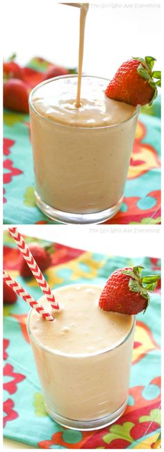 PB&J Smoothie - a healthy smoothie that your kids will love! the-girl-who-ate-everything.com