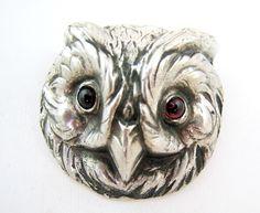 Vintage Large Owl Sterling Silver Brooch Pin | eBay