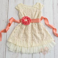 Cream Girls dress, lace flower, Rustic flower girl dress, Country flower girl dress, Birthday dress, Coral flower girl dress,Baby Dress by SweetValentina on Etsy https://www.etsy.com/listing/285863321/cream-girls-dress-lace-flower-rustic