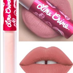 Lime Crime Matte Liquid Lipstick Long lasting matte liquid lipstick in a peachy nude hue.   Inspired by the luxurious texture of rose petals, Velvetines liquid matte lipstick dries to a touch-proof velvet finish. Remove with waterproof makeup remover or oil. MATTE Urban Decay Makeup Lipstick