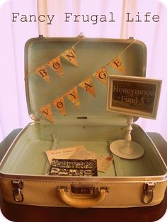 """Fancy Frugal Life: Vintage Suitcase """"Honeymoon Fund"""" Wedding Decor  Use for cards brought to reception?"""