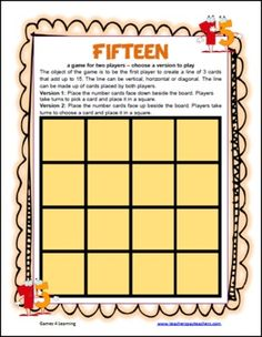 A Free math board game from Games 4 Learning to practice addition of 3 numbers to 15. This is a printable addition game is for two players.