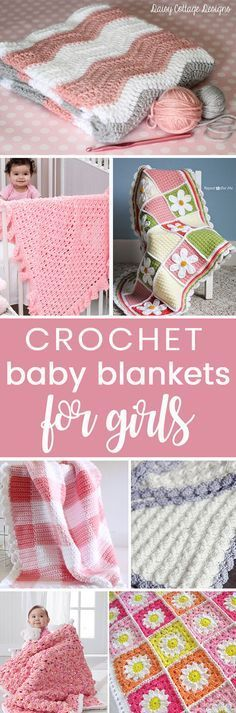 Crochet these easy beginner free baby blankets for girls from my free pattern roundup! Quilting For Beginners, Crochet Patterns For Beginners, Crochet Blanket Patterns, Baby Blanket Crochet, Baby Patterns, Crochet Stitches, Crochet Blankets, Sewing Patterns, Crochet For Kids