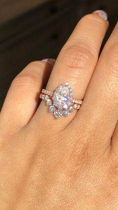 Pear Wedding Ring, Wedding Ring Sets Unique, Bridal Ring Sets, Bridal Rings, Diamond Wedding Bands, Wedding Ring With Band, Large Wedding Rings, Curved Wedding Band, Wedding Sets
