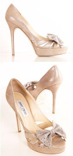 Jimmy Choo Nude Shimmer + Jeweled Bow Heels <3
