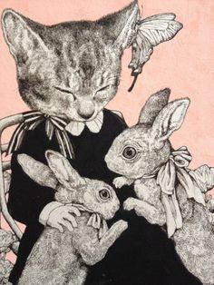 Fábulas e gatos por Yuko Higuchi Art And Illustration, Bunny Art, Cat Love, Crazy Cats, Cat Art, Kitsch, Art Inspo, Illustrators, Art Drawings