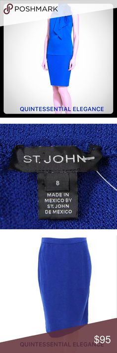 """ST. JOHN Knit Skirt Figure flattering St. John Knit pencil skirt in cobalt blue with elastic waistband. Approximate measurements W 28"""" H 38""""  L 23 3/4""""; 78% Wool/22% Rayon. From my closet to yours! St. John Skirts Pencil"""