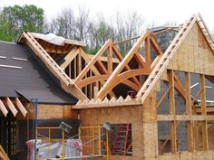 Wood Frame timber truss installation from timber frame homes Timber Frame Homes, Timber House, Timber Frames, Cabin Homes, Log Homes, Oak Framed Buildings, Timber Structure, Roof Trusses, Wood Construction