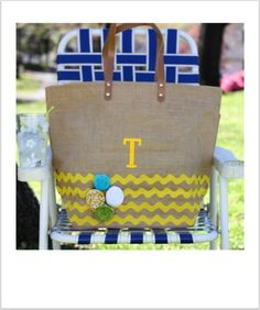 Image of Summer Family Bag with chevron border, rosettes and monogram