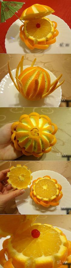 fun food art with oranges Cute Food, Good Food, Food Garnishes, Garnishing, Fingerfood Party, Food Sculpture, Fruit And Vegetable Carving, Food Carving, Food Decoration
