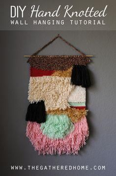 DIY Hand Knotted Wall Hanging Tutorial - step by step photos, instructions, and techniques via www.thegatheredho.... #wallhanging #fiberart