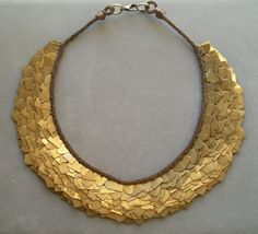Bib necklace bronze metal industrial antiqued gold.