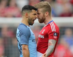 Manchester City star Aguero squares up to Middlesbrough's Adam Clayton shortly after scoring his side's second goal