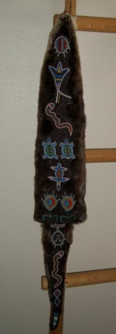 Beaded Otter Skin Pouch Lined with Wool Trade Cloth