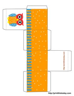 Free Printable Owl Gift Box or Party Favor Box.