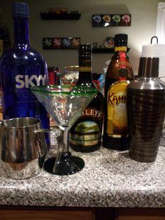 Espresso martini...1 shot vodka, 1 shot kahlua, 3/4 shot baileys, 1.5 shots of fresh espresso. shake with ice.
