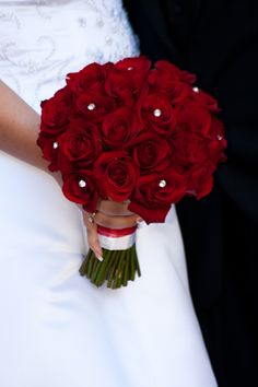 Red Rose Wedding Bouquet with Diamonds. Red Bouquet Wedding, Rose Bridal Bouquet, Red Rose Bouquet, Red Wedding, Wedding Ideas, Perfect Wedding, Prom Flowers, Bride Flowers, Bride Bouquets