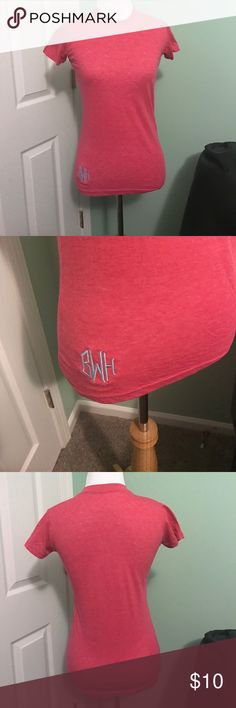 Hot Pink Tee Hot Pink Lightweight Tee with Crew Neck.  ******Tee is Monogrammed with a light blue Diamond Script BWH.  **** Tops Tees - Short Sleeve