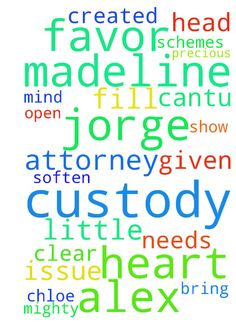 Lord please clear Madeline's little head and fill her -  Lord please clear Madeline's little head and fill her heart with peace and joy. Let what ever fears or anxiety she may be having leave her and never to return because you are her Father and she is the precious child you created her to be. We ask that you stand with us all and our attorney Jorge Cantu, bring blessing and favor on Alex in the courts decision. Father God open the mind and eyes of the judge and soften his heart in favor of…