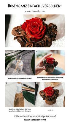 Gib deiner Rose in wenigen Minuten ein simples Upgrade. Tricks, Inspiration, Gold, Diy, New Ideas, Biblical Inspiration, Bricolage, Diys, Handyman Projects