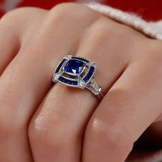 Jeulia Halo Cushion Cut Created Sapphire Engagement Ring - Jeulia Jewelry