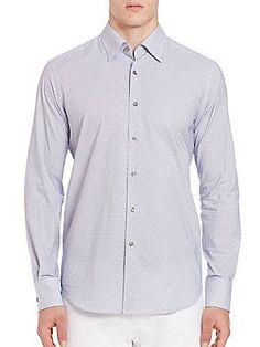 Saks Fifth Avenue Collection Pindot Cotton Sportshirt - Blue - Size