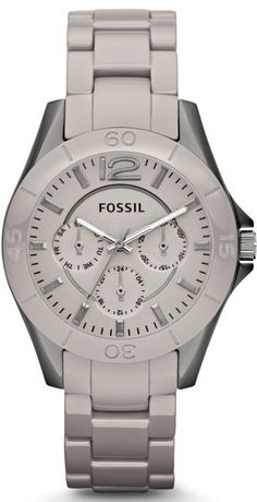 Capri Jewelers Arizona ~ www.caprijewelersaz.com  Fossil Watch, Women's Riley Ceramic Watch Stone Grey CE1064