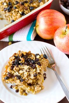 Apple, Raisin & Walnut Baked Oatmeal | My best baked Oatmeal ever!! I make it with Vanilla Almond Milk and it is so GOoooOd!! Jen