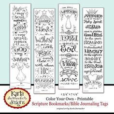 Bible Journaling Bookmarks you can purchase, print & send to your sponsored child! | via Karla Dornacher