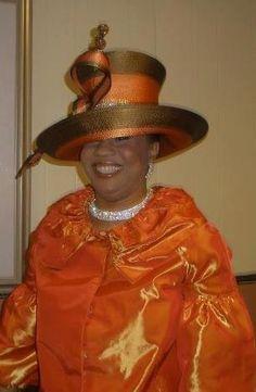 Orange and Gold Church Attire, Church Outfits, Sunday Clothes, Queen Hat, Church Fashion, Sunday Dress, Apostolic Fashion, Fancy Hats, Church Hats
