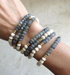 Riverstone and Labradorite Bracelet Diy Jewelry, Beaded Jewelry, Jewelery, Jewelry Accessories, Handmade Jewelry, Jewelry Design, Jewelry Making, Jewelry Ideas, Fashion Jewelry