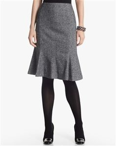 "Trumpet Skirts are similar to a pencil skirt and holds tight to the hips until it flares out just above the knee.   ""White House Black Market."" White House Black Market. N.p., n.d. Web. 23 Apr. 2013. ."