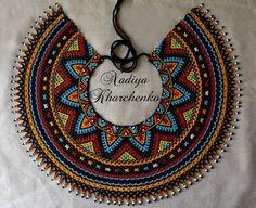 Світлина від Nadiya Kharchenko. Beaded Necklace Patterns, Beaded Earrings, Crochet Necklace, Bead Loom Patterns, Neck Piece, Diy Jewelry Making, Unique Necklaces, Beading Tutorials, Loom Beading