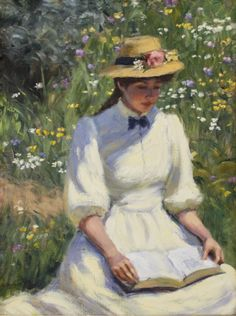 Spring Stories. Greg Harris (American, b 1953). Oil on canvas. Though his subject matter is varied, Harris is most well known for his paintings of beautiful and sensitive women in period settings. He carries forth the traditions of impressionism, while modifying and redefining the art form to make it his own.