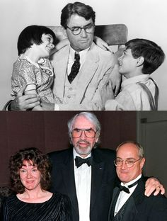 """""""To Kill a Mockingbird"""" actors Mary Badham (Scout) & Phillip Alford (Jem) with onscreen dad Gregory Peck (Atticus Finch) in and reunited in Badham stayed close with Peck until his death in """"I always called him Atticus, and he still called Hooray For Hollywood, Golden Age Of Hollywood, Hollywood Stars, Classic Hollywood, Old Hollywood, Gregory Peck, Mary Badham, Atticus Finch, Old Movies"""
