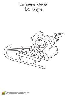 Coloriage d'une petite fille toute contente sur sa  luge Luge, Plastic, Sports, Scrap, Winter Games, Olympic Games, Day Care, Hs Sports, Sport