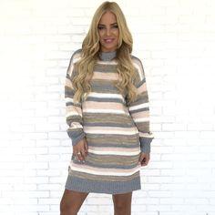 ec74aace72c Quiet Down Stripe Knit Sweater Dress - Dainty Hooligan Boutique Knit  Sweater Dress