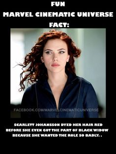 I love her, she said she wanted this role to prove that she wasn't all cute and pretty films. She can kick ass too and she's not afraid to prove it. She trained so hard for this role to be able to pull off being THE Black Widow not just emotionally but physically and I have so much respect for her.