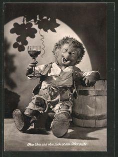 alte AK Kellermeister Mecki betrinkt sich mit Wein in Sammeln & Seltenes, Ansichtskarten, Motive   eBay