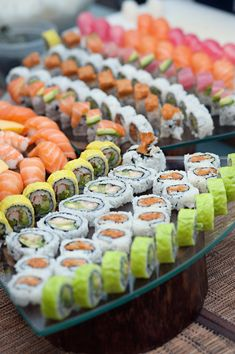 Wedding Food sushi at reception.this would be COMPLETELY amazing if we could have this at our wedding! - New York City Wedding Tribeca Rooftop Manhattan Carla Ten Eyck Photography LDF Floral Design Contemporary Modern Gray Pink Skyline Sushi Catering, Sushi Menu, Sushi Party, Sushi Sushi, Sushi Buffet, Sushi Platter, Sushi Recipes, Asian Recipes, Detox Recipes