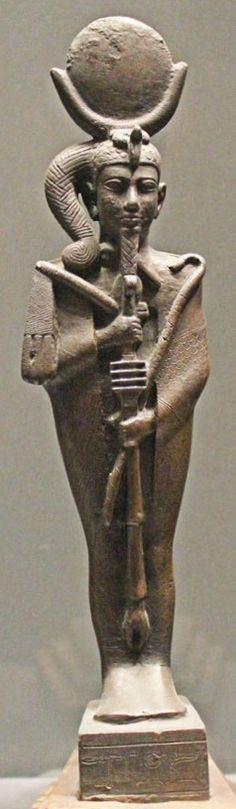 Khonsou, mèche sur le côté (marque de l'enfance), fils d'Amon et de Mout