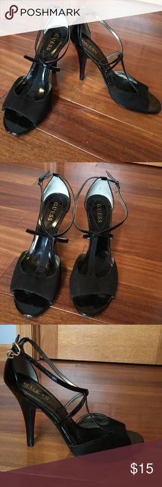 Guess Black Heels Guess brand, satin front with patent leather straps and heel. Super flattering on! Worn a few times, great condition! Guess Shoes Heels