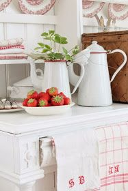 Morning in the kitchen! farmhouse red home decor, red cottag White Cottage, Shabby Cottage, Cottage Homes, Cottage Style, Cottage Interiors, Cottage Living, Shabby Chic, Red Kitchen, Country Kitchen