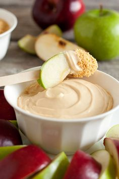 Caramel Cheesecake apple dip.... Just cream cheese, caramel topping for ice cream and some crushed graham on the side