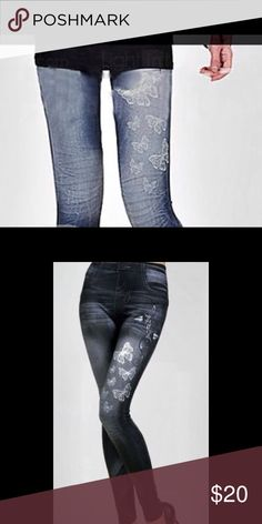 🎁🌹 Leggings 🌹 🎁❗️❗️❗️ 🎀 Women's Elastic Waist Butterfly Printed Imitation Jeans Leggings🎀❗️❗️❗️ Pants Leggings