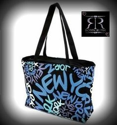 aaaa5735e87c Robin Ruth New York Neon Blue Rainbow Spiral Canvas Designer Tote Bag Carry  All on sale