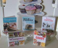Doughnuts Whoopie Pies Candy Making Baking COOKBOOKS  Dollhouse Miniature 1/12 Scale. $15.00, via Etsy.